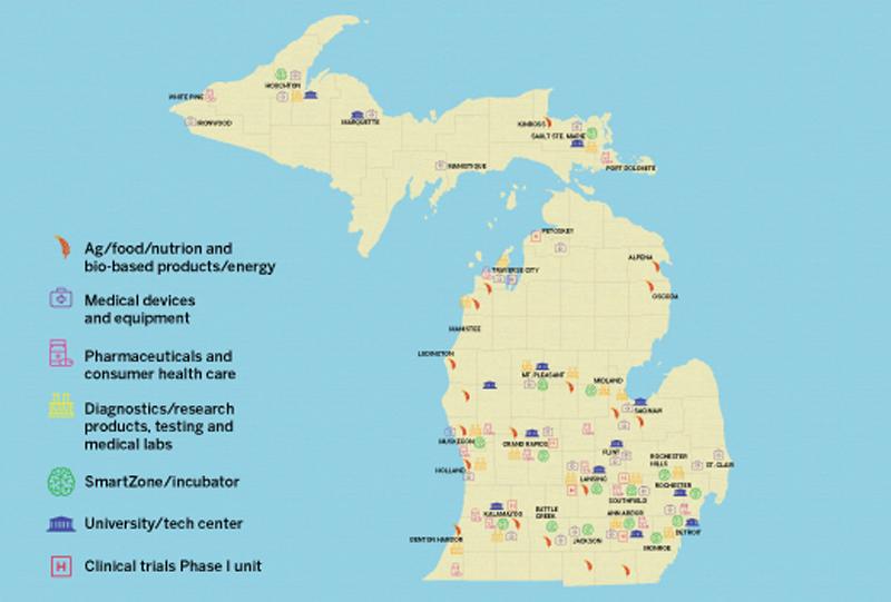 map of Michigan bio-industries